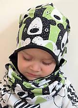 Detské čiapky - čiapka z biobavlny Tlupa medveďov (pistáciová) - 9370750_