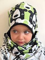 Detské čiapky - čiapka z biobavlny Tlupa medveďov (pistáciová) - 9370752_