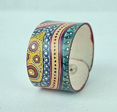 Náramky - Ručne maľovaný kožený náramok - Motív Abstrakt - 9370878_