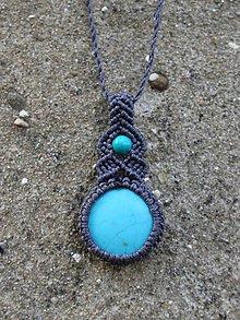 Náhrdelníky - Macramé náhrdelník tyrkenit + tyrkys - 9369593_