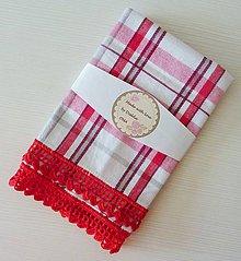 Úžitkový textil - Károvaná utierka s krajkou, červená - 9371226_