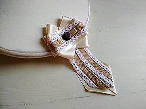 Odznaky/Brošne - Dámska kravata/brošňa pod golier...Ivory Love s jutou a ebenom - 9371981_