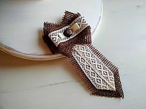 Odznaky/Brošne - Dámska kravata/brošňa pod golier...Nature Chocolate/Ivory Love - 9373508_