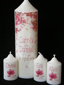 Svietidlá a sviečky - Svatební svíčka květy třešně Swarovski kamínky - 9372041_