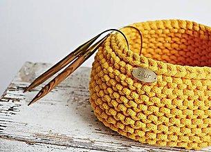 Košíky - Pletený košík - žltý - 9372963_