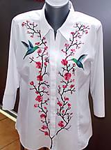 Košele - Rozkvitnuté blúznenie s kolibríkmi - 9373521_