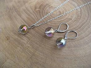 Sady šperkov - náušnice a prívesok z Krištáľu-oceľ - 9373685_
