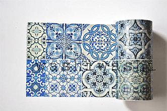 Papier - washi paska extra modry ornament - 9377523_