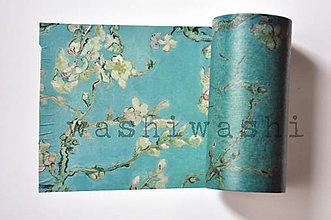Papier - washi paska extra tyrkysova sakura - 9377529_