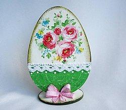 Dekorácie - Drevené vajíčko-romantické kvietky - 9377519_
