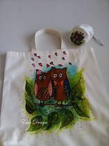 Nákupné tašky - nákupná taška s taštičkou - Sovy - 9376047_