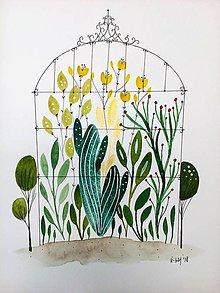 Obrazy - Skleník kaktus ilustrácia / originál maľba - 9374748_