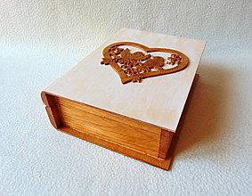 Krabičky - Drevená krabička Svadobná kniha - 9374847_