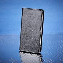 Na mobil - Kožené knižkové púzdro šité na mieru ZMEJSS (Čierna) - 9376452_