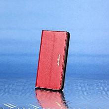 Na mobil - Kožené knižkové púzdro šité na mieru ZMEJSS (Červená) - 9376453_