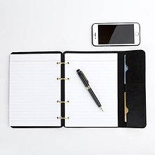 Papiernictvo - Kožený zápisník / karisblok AMIRA - čierny, A5 - 9376812_