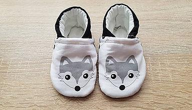 Topánočky - Capačky s líškami (čierna päta) - 9377338_