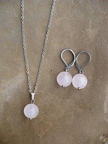 Sady šperkov - náušnice a prívesok z Ruženínu-oceľ - 9374828_