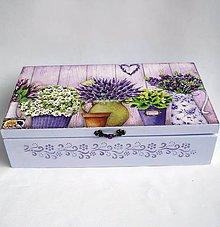 Krabičky - Drevená krabica 8 priečinková- levanduľová - 9380802_