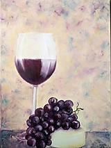 Obrazy - Víno, syr, hrozno... - 9381085_