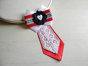 Odznaky/Brošne - Dámska kravata/brošňa pod golier...Folklórna červeno-biela - 9381423_