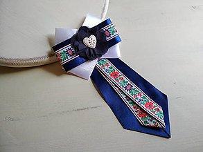 Odznaky/Brošne - Dámska kravata/brošňa pod golier...Folklórna modro-biela - 9381431_