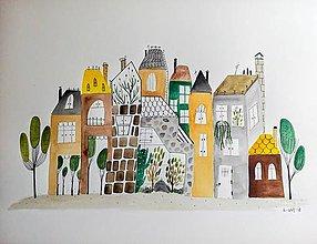 Obrazy - Mesto 38 ilustrácia  / originál maľba - 9378212_