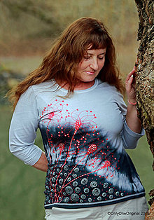 Tričká - Dámske tričko batikované, maľované PREBÚDZANIE  - 9378529_