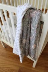 Textil - Minky deka Líštička, biela alebo ružová, 100x70cm - 9378156_