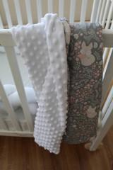 Textil - Minky deka Líštička, biela alebo ružová, 100x70cm - 9378163_