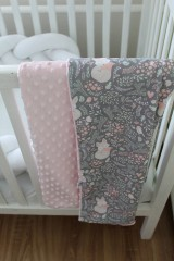 Textil - Minky deka Líštička, biela alebo ružová, 100x70cm - 9378170_