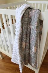 Textil - Minky deka Líštička, biela alebo ružová, 100x70cm - 9378172_