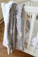 Textil - Minky deka Líštička, biela alebo ružová, 100x70cm - 9378189_