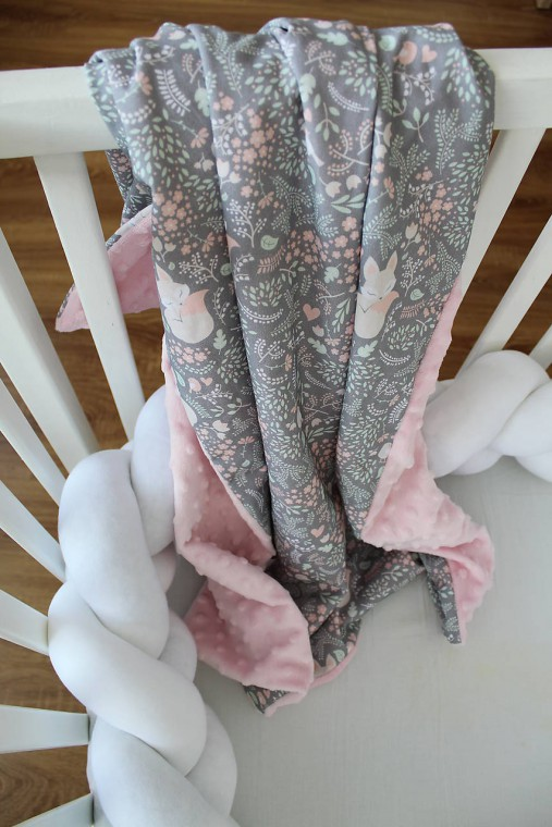 Minky deka Líštička, biela alebo ružová, 100x70cm