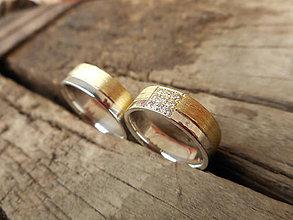 Prstene - Obrúčky dvojfarebné so zirkónikmi - 9378831_