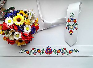 Opasky - Vyšívany folk opasok a kravata - 9380745_
