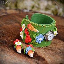 Náramky - Lúčne kvety - sada hodiniek a náušníc - 9379835_