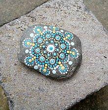 Dekorácie - Gaderský modrý do dlane - Na kameni maľované - 9379980_