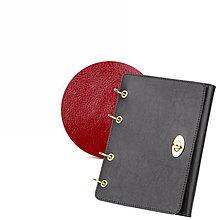 Papiernictvo - Kožený zápisník / karisblok AMIRA - čierny, A5 (Červená) - 9379610_