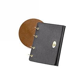 Papiernictvo - Kožený zápisník / karisblok AMIRA - čierny, A5 (Hnedá) - 9379611_