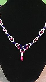 Náhrdelníky - Bordovo-modrý náhrdelník - 9378684_