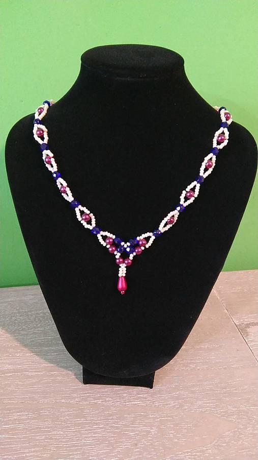 Bordovo-modrý náhrdelník