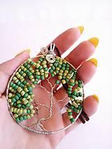 Náhrdelníky - Náhrdelník Ella so zelenými korálkami v tvare stromu - 9378719_