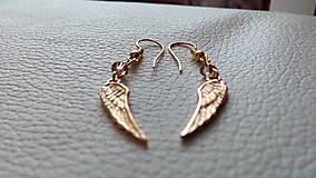 Náušnice - Angel wings (pozlátené striebro) - 9381011_