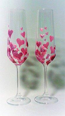 Darčeky pre svadobčanov - Svadobné poháre srdiečkové ružové - 9381480_