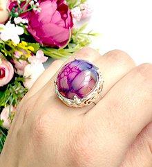 Prstene - Vivid Silver Dragon Agate Ring / Výrazný prsteň s dračím achátom v striebornom prevedení #0312 - 9383132_