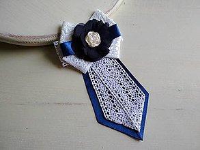 Odznaky/Brošne - Dámska kravata/brošňa pod golier...Folklórna modro-biela - 9385457_