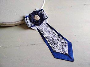 Odznaky/Brošne - Dámska kravata/brošňa pod golier...Luxusná Folklórna modro-biela - 9385465_