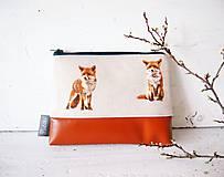 - Kozmetická taška veľká režná - líšky so škoricovou - 9383363_