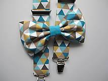 - Pánsky motýlik a traky- trojuholníkový farebný set - 9384784_